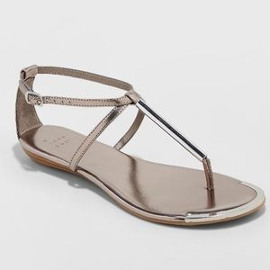 NWT A New Day Archer T sandals pewter metallic